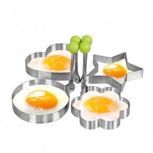 4357 Moule à œufs au plat pour poêle en acier inox 9 x 9 x 1,4 cm