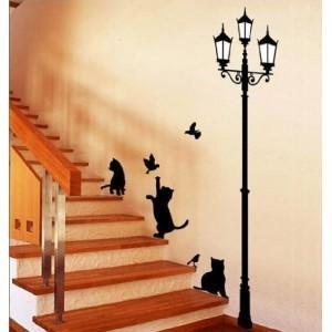 Adhésifs décoratifs chats et lampadaire 70 x 50 cm