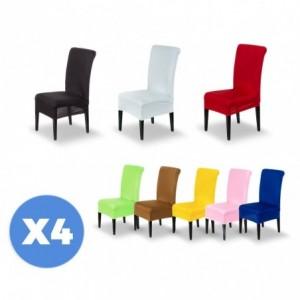 4701 Set de 4 housses de chaise en tissu élastique idéal pour cuisine et salon