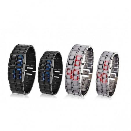 Montre numérique LED samouraï modèle de bracelet de fer métallique