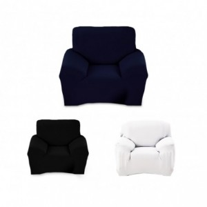 4351 Housse de fauteuil 1 place couleur unie tissu élastique facile à enfiler