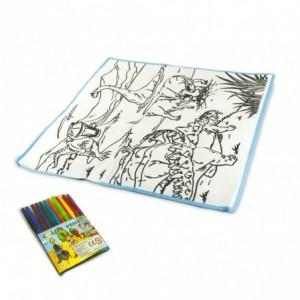 121769 Tapis magique joue et colorie 50 x 50 cm pour colorier plume d'eau