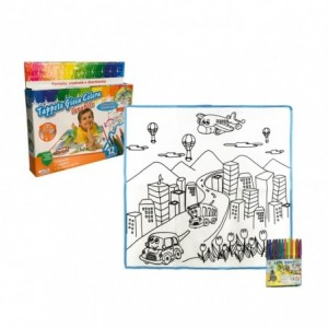 121768 Tapis magique LA VILLE lavable 50 x 50 cm pour colorier avec feutres