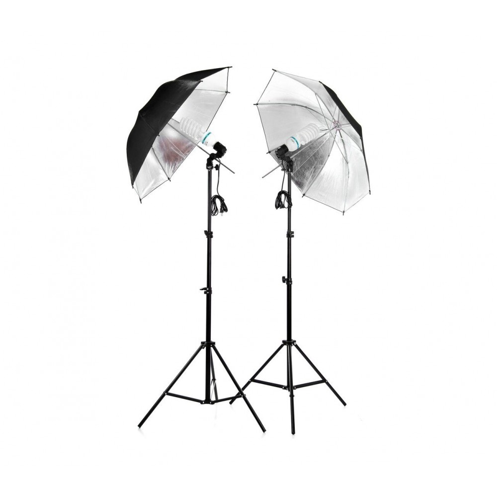 4493 Kit d'éclairage studio 2 parapluie lumineux 85 cm avec ampoules de 135 w