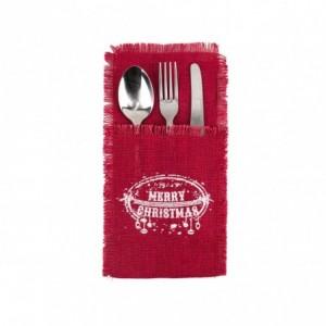 567193 Poche porte-couverts Noël MERRY CHRISTMAS toile de jute rouge