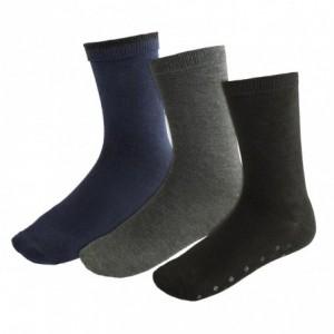 N-829 Lot de 3 paires chaussettes antidérapantes homme SOCKS taille unique 40/46