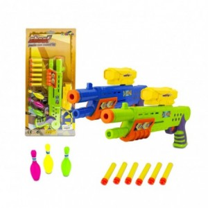 168837 Pistolet en plastique SHOOT PLAY CIGIOKI avec balles souples et quilles
