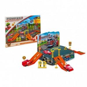 121838 Playset caserne de pompiers avec un hélicoptère et des véhicules