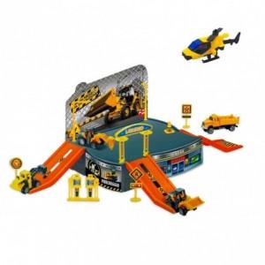 121837 Playset chantier de construction avec un hélicoptère et des véhicules