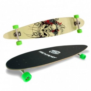 515500 Skate Longboard SKULL ABEC-9 truck en aluminium 115 x 23 cm roues 70 mm