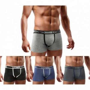 B-003 Pack de 4 boxers homme modèle JEFF coton couleur unie coutures contrastées