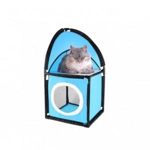 004065 Abri pour chat d'angle KITTY CORNER 2 étages rembourré 71 x 36 x 36 cm
