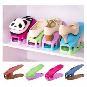181170 Lot de 4 range-chaussures double rangement et espace différentes couleurs