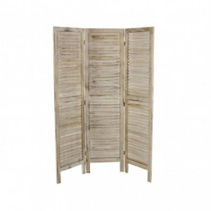 394465 Paravent modèle classique en bois blanc vieilli 170 x 40 cm