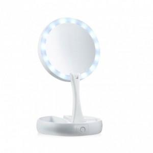 134006 Miroir 2 faces grossissant 1X et 10X lumineux pliable avec compartiment