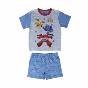 22-2108 Pyjama d'été SUPER WINGS pour garçon en coton tailles de 2 à 6 ans