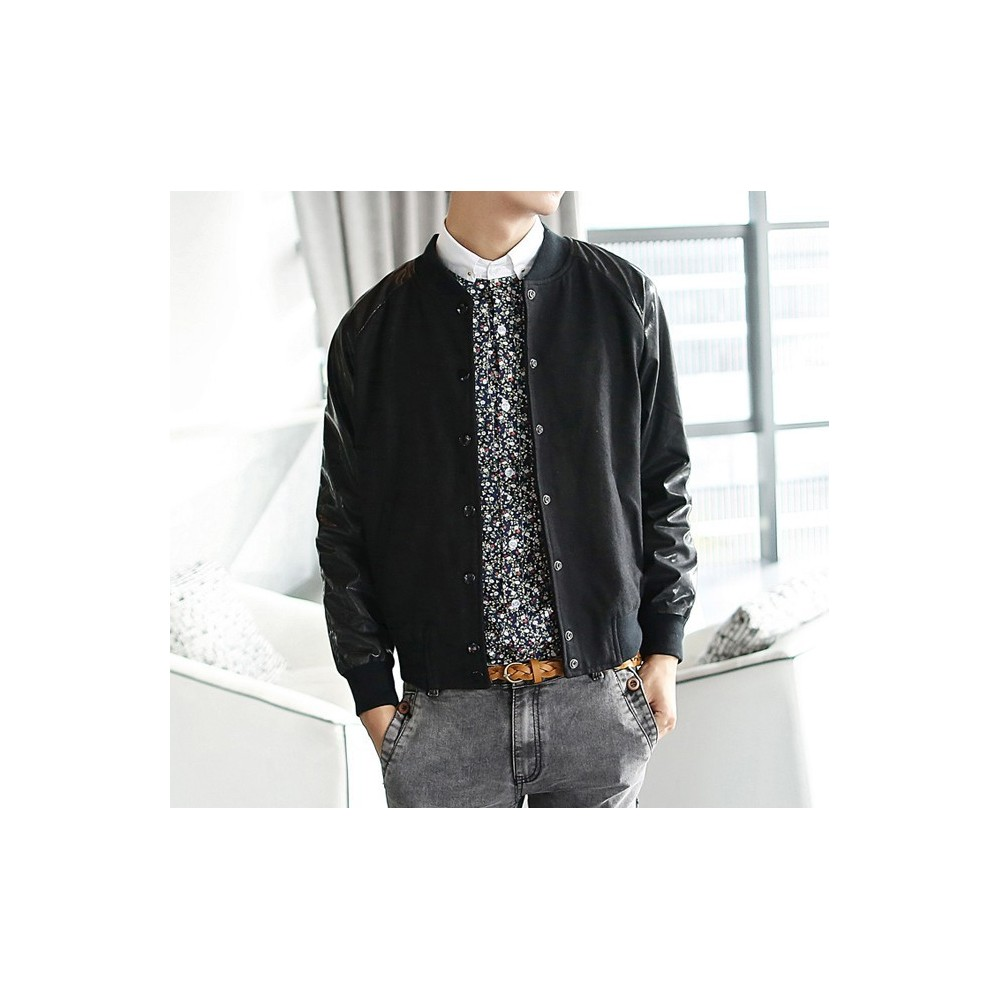 manteau d 39 hiver blouson veste simili cuir homme. Black Bedroom Furniture Sets. Home Design Ideas