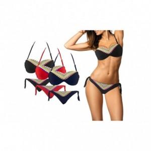 CY9927 Maillot de bain bikini rembourrés mod. NICLA avec fantaisie géométriqu