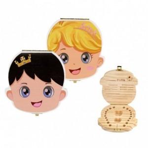 10751 Boîtier en bois coloré pour garde dents de lait bébé et fille