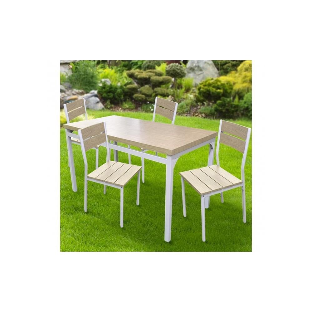 433843 Table de jardin AH avec 4 chaises en métal et bois clair 110x70