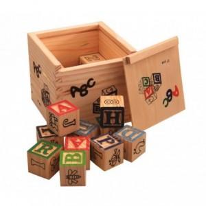 Jeu pédagogique Boîte de 27 cubes en bois animaux, lettres et numéros 3X3 cm