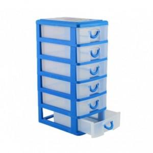 225066  Tour de rangement 5 tiroirs WELKHOME en plastique rigide 9x13x18.5 cm