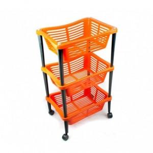 348499 Chariot pour fruits WELKHOME 3 étages avec roues 30x40x69 cm