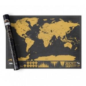 182207 Carte du monde deluxe noir 82 x 58 cm grattez les endroits visités