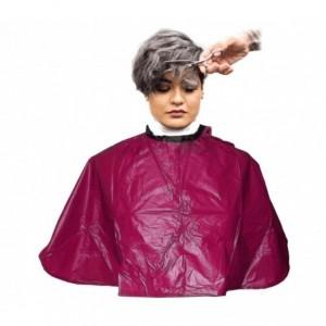 159001 Cape bordeaux en pvc 91x68 cm pour salon de coiffurec