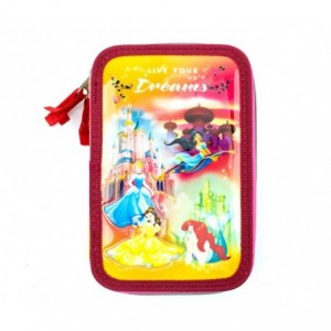 455579  Trousse  Matériels 3 compartiments 43pcs SCUOLA Princess LIVE YOUR DREAM