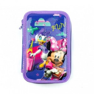 455593 Trousse + Matériels 3 compartiments 43pcs SCUOLA Disney MINNIE PAPERINA