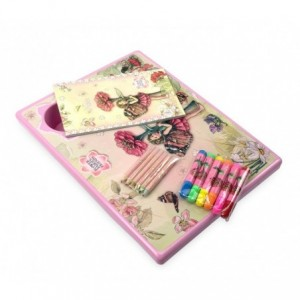 031406 Coussin d'activités et de dessins avec feutres crayons de couleurs