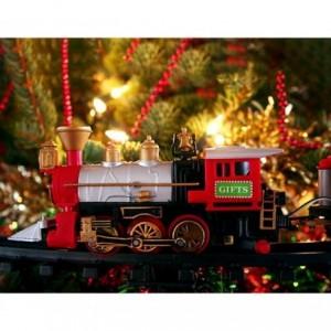 830082 Train de Noël à piles pour arbre de noël avec lumières et sons 75cm D