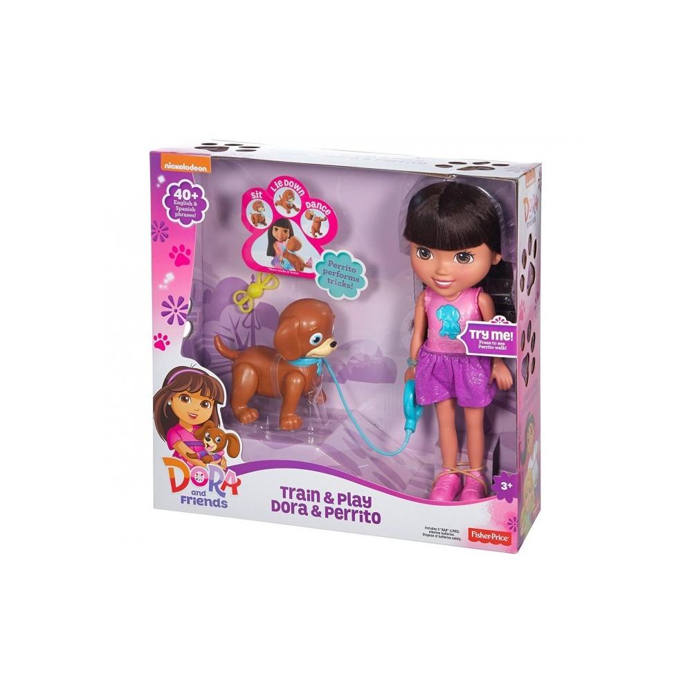 072587 La poupée Dora TRAIN & PLAY parle et chante avec son chien  FISHER PRICE