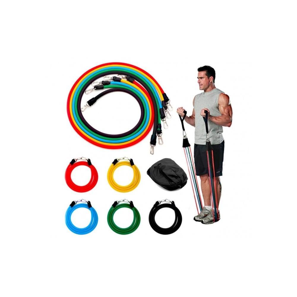 Ensemble de bandes élastiques et tendeurs pour entrainement et réhabilitation