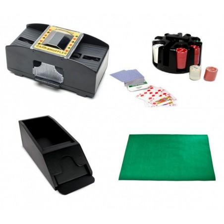 390623 Set de poker DELUXE avec mélangeur double sortie 200 jetons + tapis