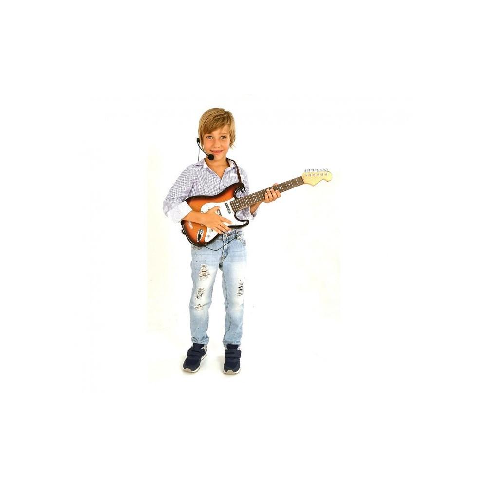 BONTEMPI 241310 Guitare électrique RockGuitar 6 cordes en métal Casque