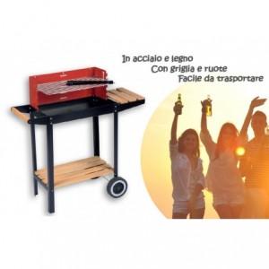 Barbecue à charbon avec roues, barbecue bois et acier mesure 83x28x83 cm