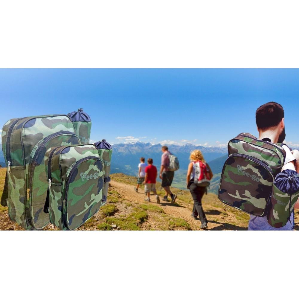 Kit senderismo en colores militares incluye mochila y botella térmica refrigerante (7+3 L) FREE-GO