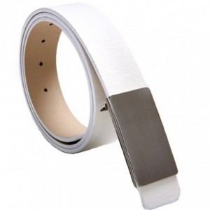 Cinturón de cuero para hombre con hebilla plateada satinada y 110 CM de longitud - mod. TODAY - Moda masculina