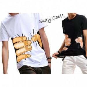 Camiseta unisex de manga corta con efecto 3D de mano agarrada a la cintura mod. SQUEEZE HAND