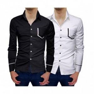 Camisa asimétrica de manga larga y fit ajustado para hombre con topos de contraste mod. PRINCE - Moda masculina