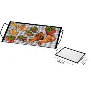Bandeja 2 en 1 para la parrilla de la barbacoa / Placa de hierro para servir comida (40x22CM) - BBQ COLLECTION