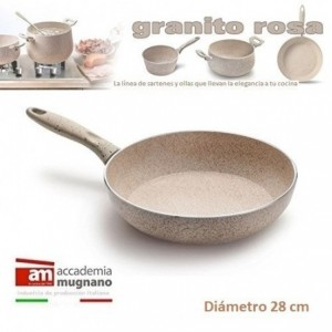 Sartén 28 cm antiadherente de efecto piedra y revestimiento Diamond Tech - Accademia Mugnano GRANITO ROSA