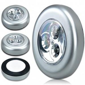Set 3 bombillas adhesivas sin cable PUSH - Luz portátil de emergencia para el coche