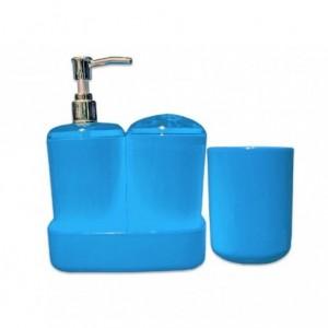 Set 4 accessoires de salle de bain coordonnés - distributeur de savon porte brosse à dents - 710824