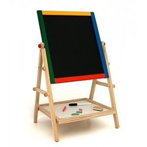Tableau réversible 30 x 35,5 activités (L x H) polyvalentes pour enfants avec crayons et feutre