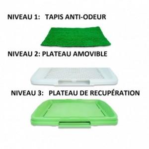 Litière 68 x 43 x 5 cm herbe synthétique pour animaux -toilettes - POT PATCH 3 couches