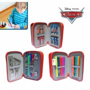 Trousse d'école 38 pièces motif Cars comprend crayons marqueurs et différents accessoires - Disney