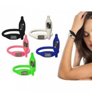Montre-bracelet silicone couleur numériques design minimaliste et polyvalente